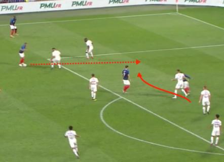 Griezmann run behind defence 1